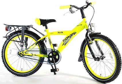 Volare Bicicleta Niño 20 Pulgadas Thombike City con y Portaequipajes Trasera Amarillo Fosforescente 95% Montada: Amazon.es: Deportes y aire libre