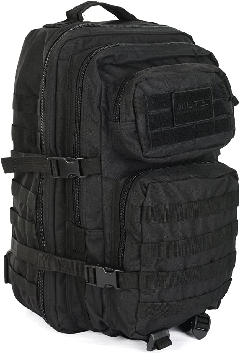 Mil-Tec Military Army Patrol Molle Assault Pack Tactical Combat Rucksack Backpack Bag 36L Black: Amazon.es: Ropa y accesorios