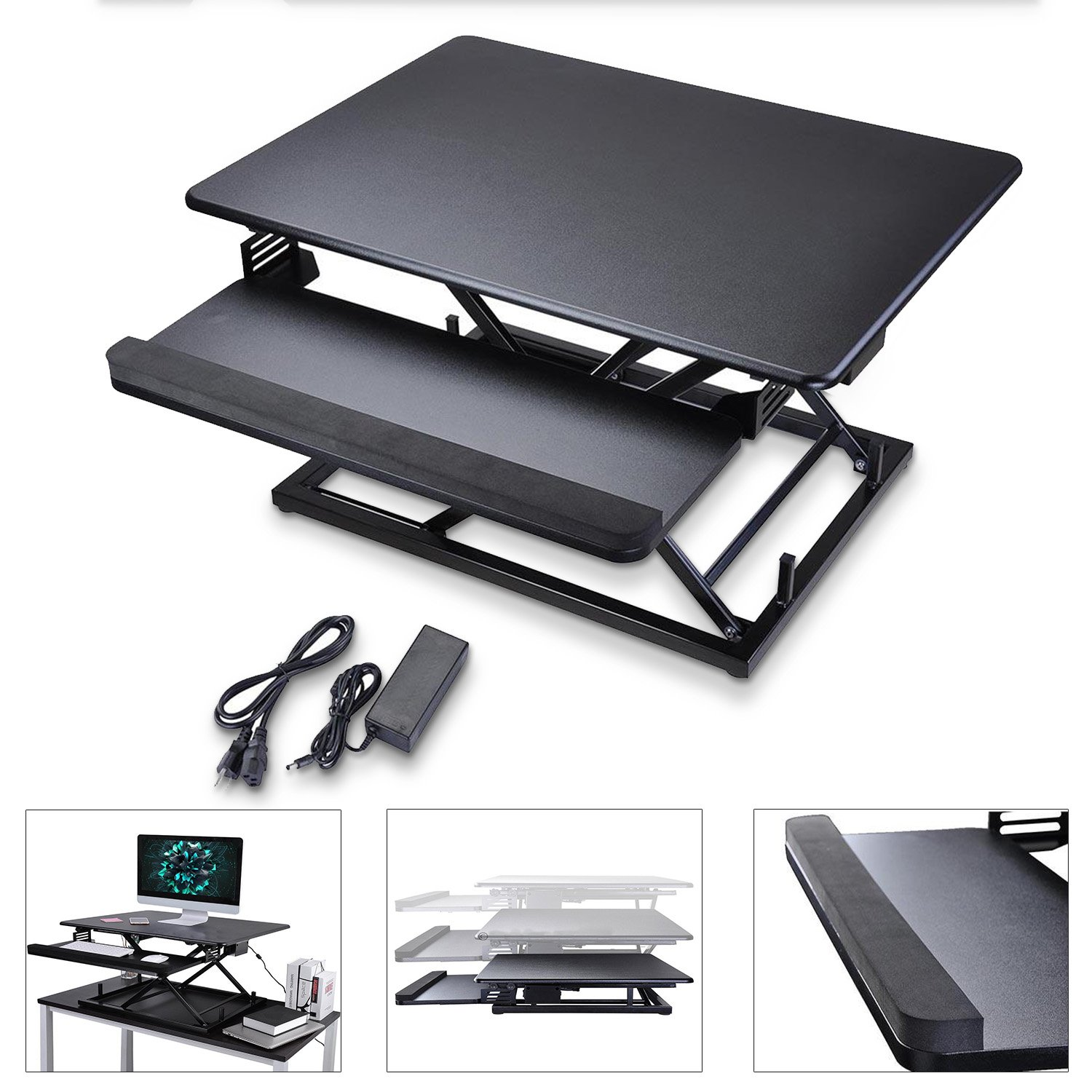 Koval Inc. Height Adjustable Electric Motorized Computer Sit-to-Stand Desk (Black) by KOVAL INC. (Image #1)