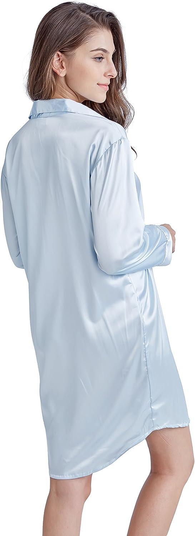 TONY AND CANDICE Women/'s Sleep Shirt Satin Pajama Top Long Sleeve Nightshirt