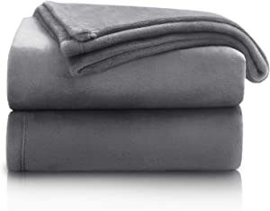 Bedsure Fleece Blanket Throw Size Ash Grey Color Lightweight Throw Blanket Super Soft Cozy Luxury Bed Blanket Microfiber