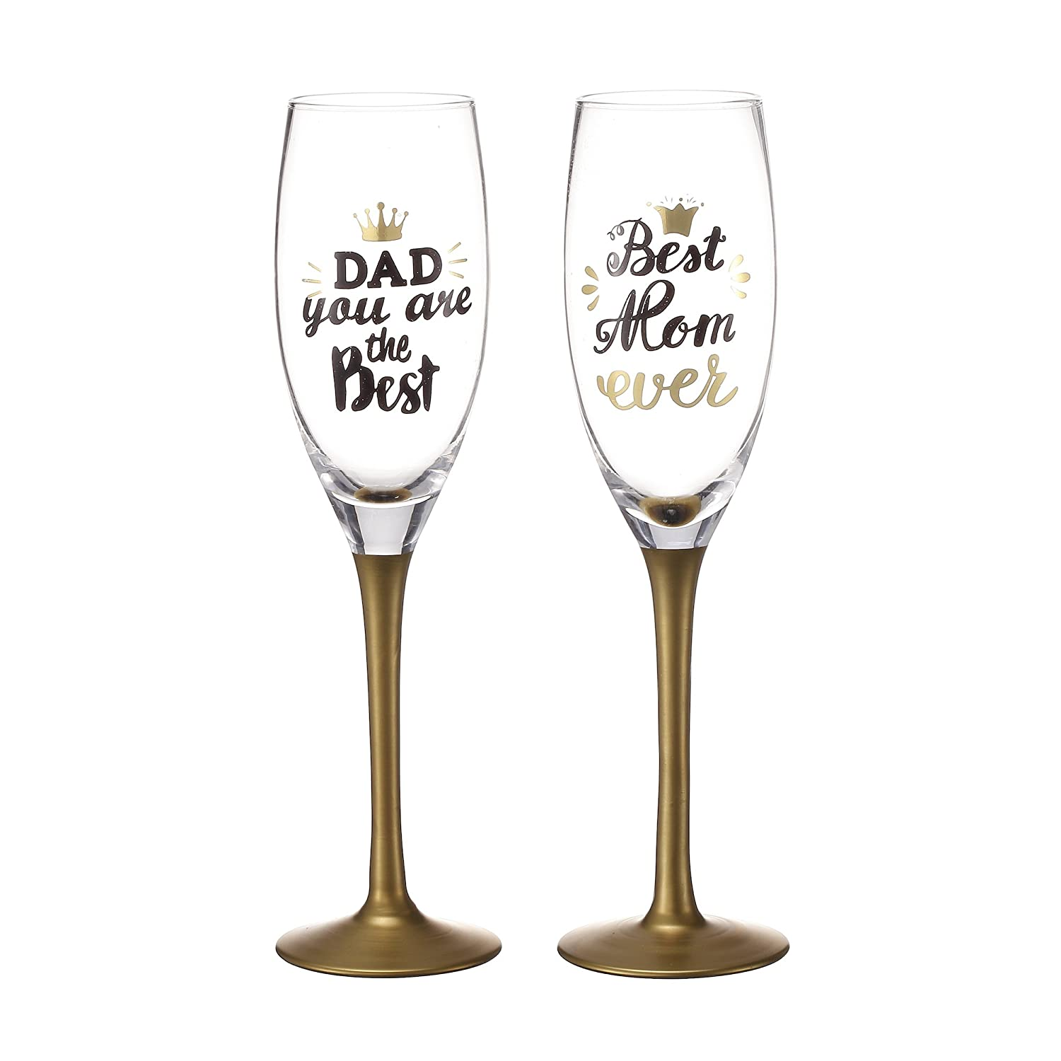 V-More V-More Wedding Toast Champagne Flute Set Wedding Toasting Glasses with Hand Painted Gentleman & Lady Decal for Wedding Special Party Home Decor Gift 8 Oz (Set of 2) V-More® Toasting Flutes