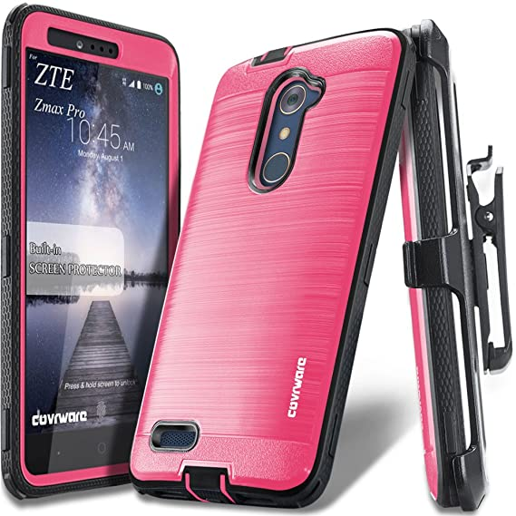 buy popular e4341 717a8 COVRWARE [Iron Tank] case Compatible with ZTE ZMAX PRO/ZTE Carry, with  Built-in [Screen Protector] Full-Body Rugged Holster Armor Case [Brushed  Metal ...