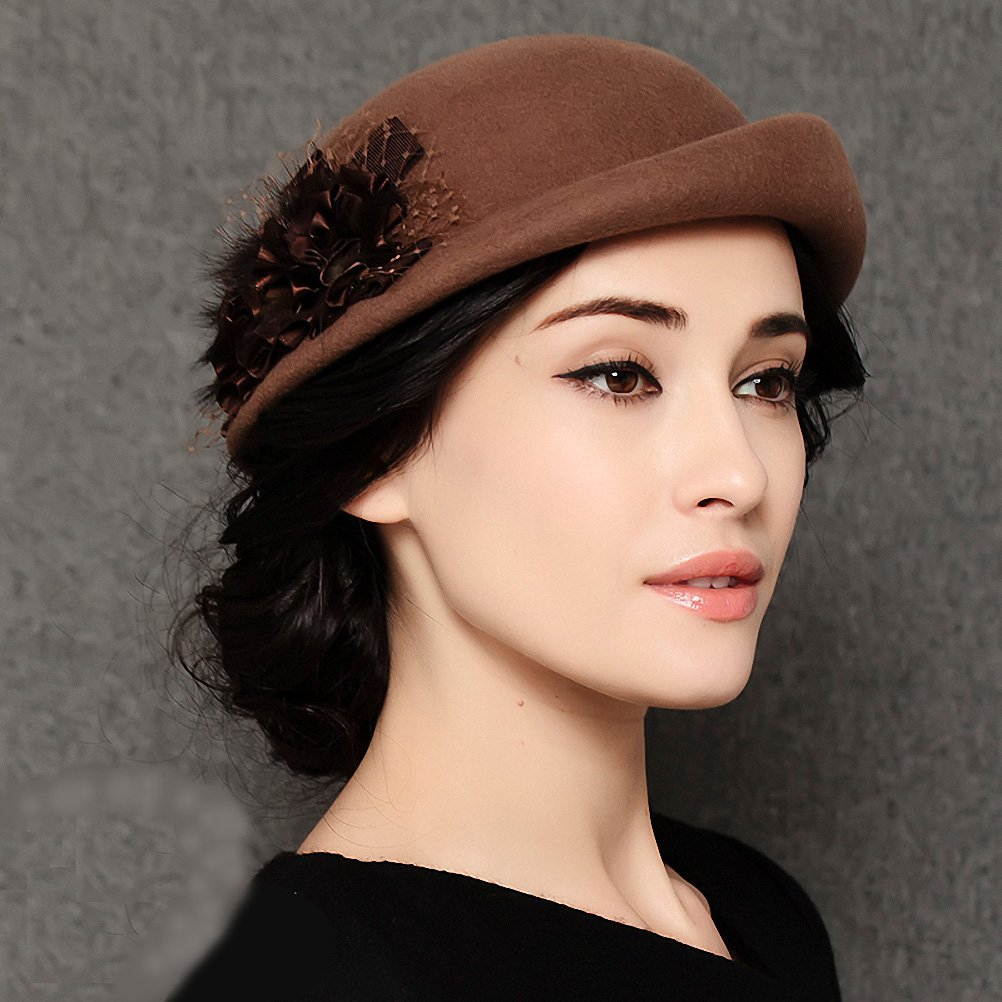Maitose&Trade; Women's Lace Flower Wool Beret Cap Camel by Maitose (Image #4)
