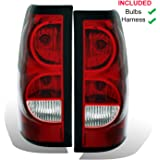 AmeriLite for 2003-2006 Chevy Silverado Replacement OE Style Ruby Red Taillights Rear Brake Lamp Assembly w/Bulb and…