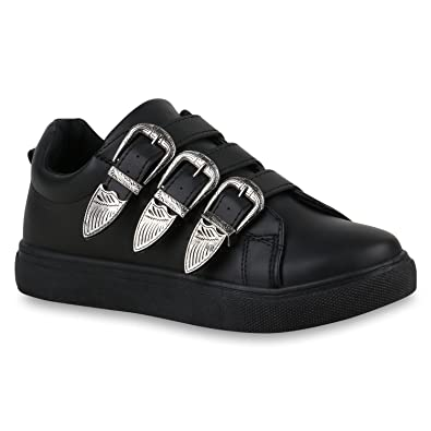 Stiefelparadies Damen Sneaker Low Schnallen Flandell: Amazon