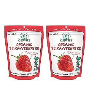 Natierra Nature Organic Freeze-Dried Strawberries - Gluten Free - Vegan - 1.2 ounce - Pack of 2