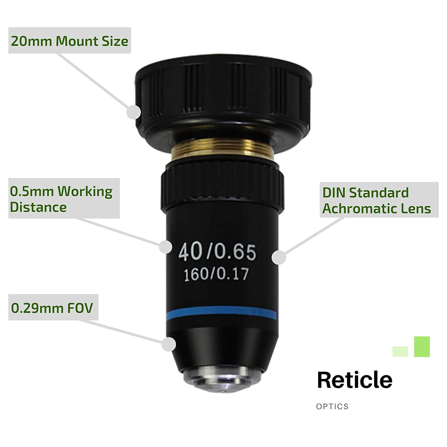 20.2MM Interface DIN Standard 160//.17 Reticle Optics 40X 195 Achromatic Objective Lens Lab Quality Objective Lens for Compound Biological Microscopes