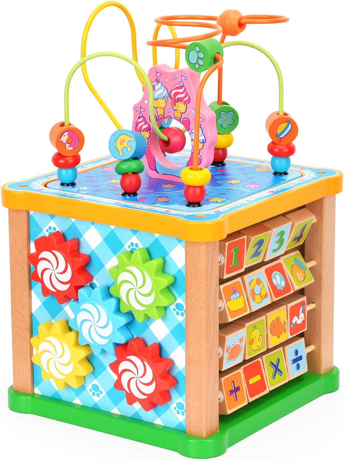 Victostar Activity Cube, 7 in 1 Bead Maze Multipurpose Educational Toy Wood Shape Color Sorter for Kids