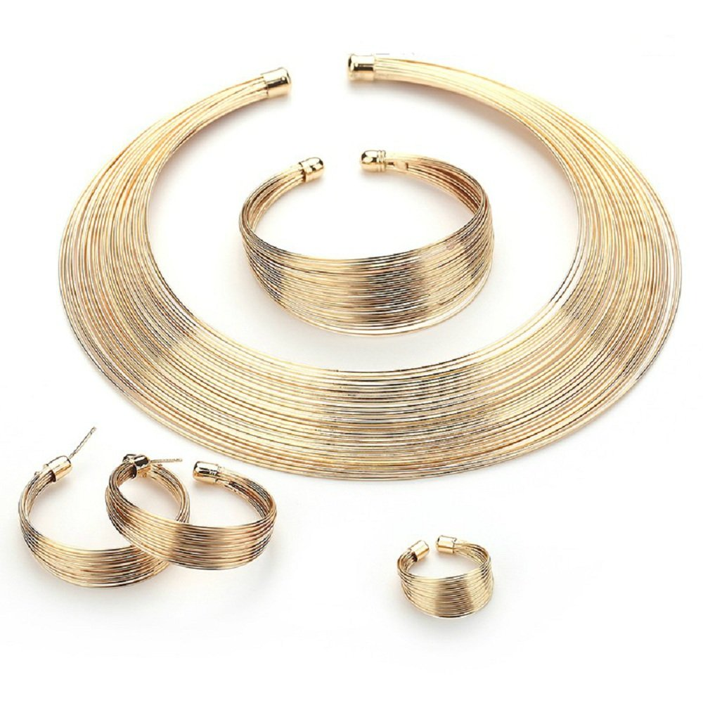 MUKUN 18K Africa Gold Plated Bridal Necklace Earrings Bracelet Ring Jewelry Sets for Wedding Dress