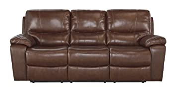 Ashley Penache Power Reclining Leather Sofa In Saddle