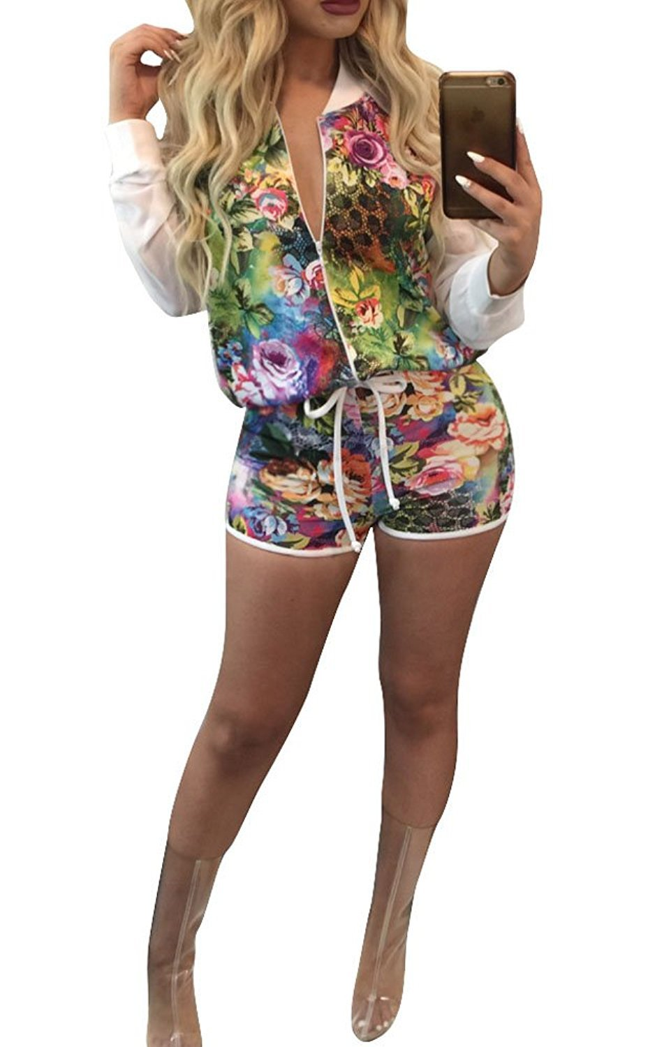 2 Piece Outfits for Women Long Sleeve Floral Jacket with Shorts XL