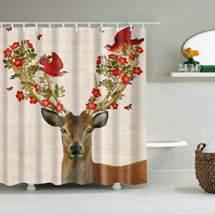 Riyidecor Floral Deer Shower Curtain Cute Rustic Red Flower Blooms Bird Animal Branch Beige Country Girl