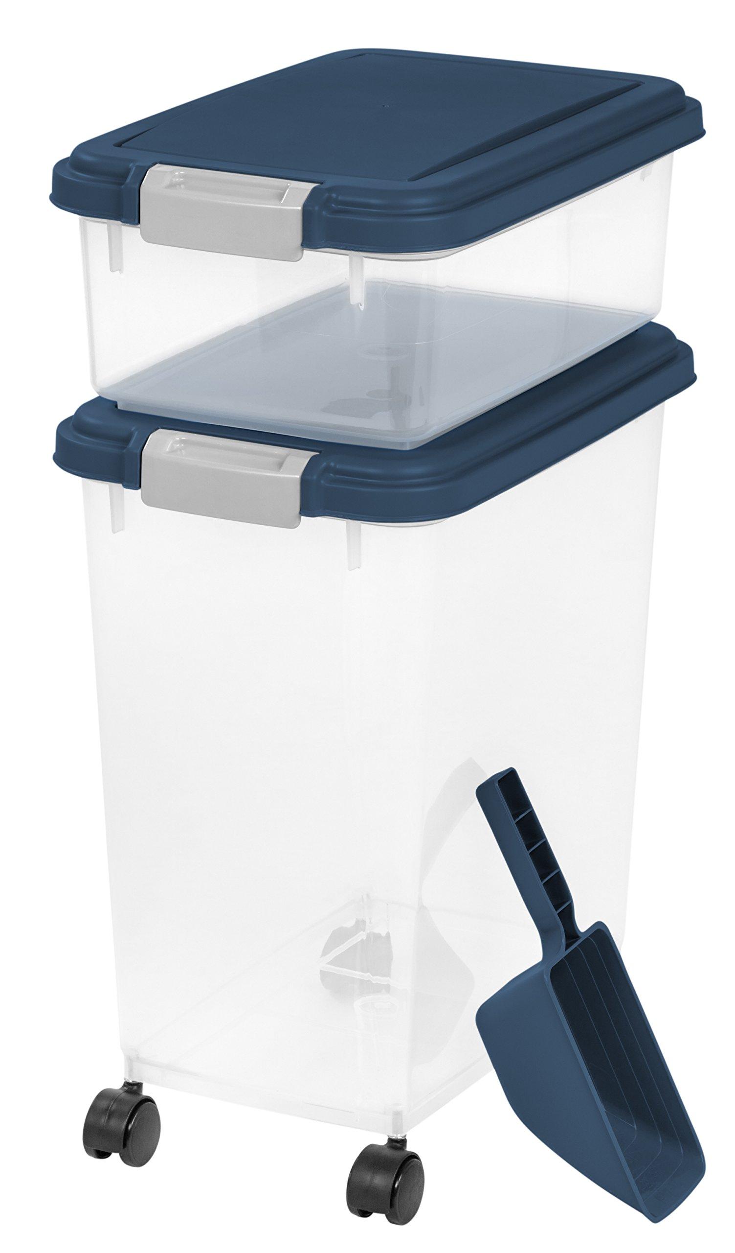 IRIS USA, Inc. 3 Piece Airtight Pet Food Storage Container Combo, Navy Blue by IRIS USA, Inc.