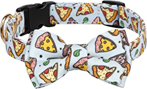 Gyapet Dog Collar for Large Medium Dogs Breakaway Bowtie Adjustable Food Patterned Cute Personalized Pizza L