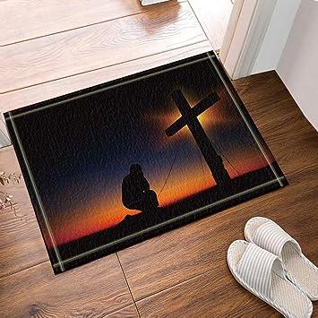 SHUHUI Hermosa Cruz y creyentes bajo el Cielo Negro ...