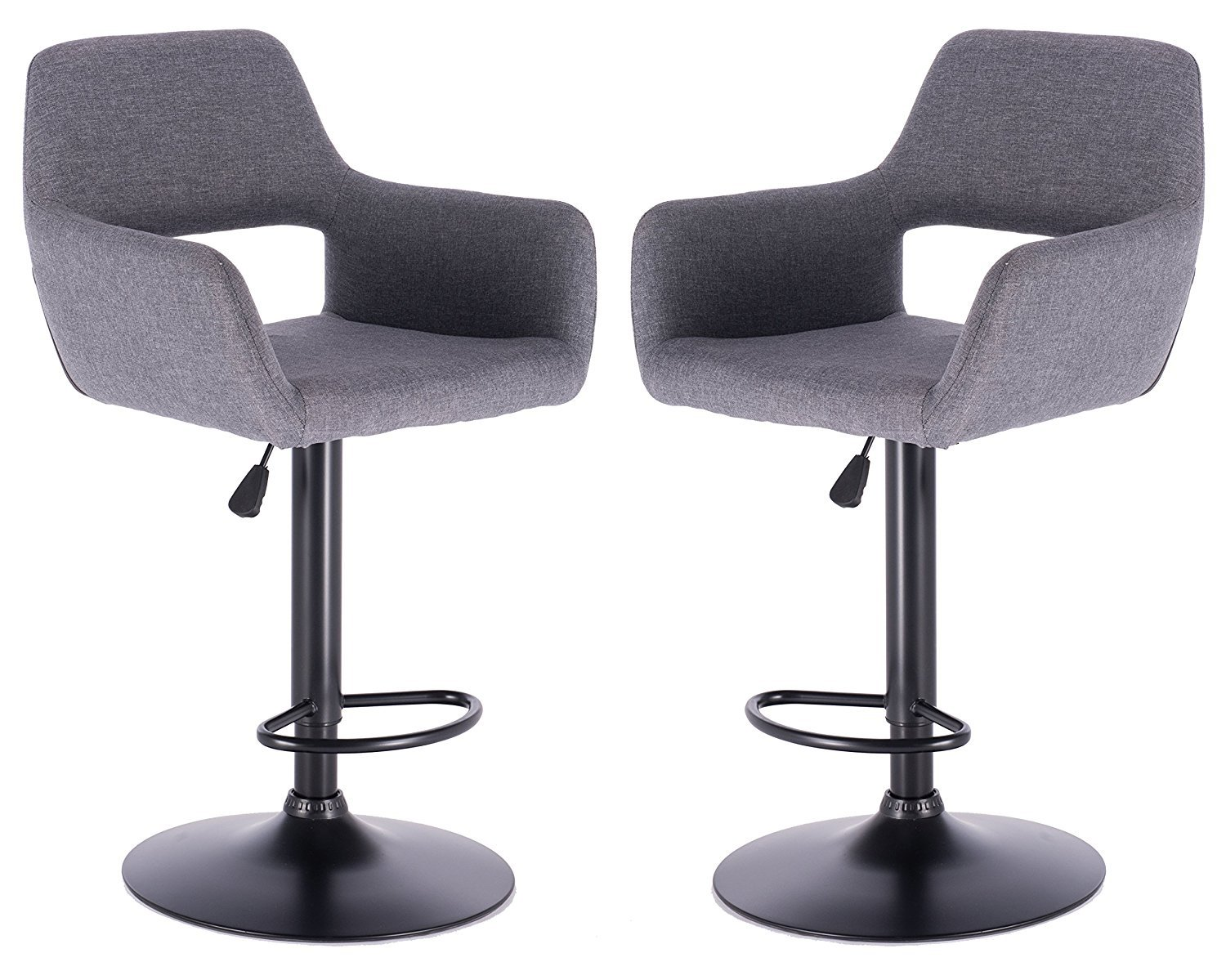 Set of 2 Grey Adjustable Bar Stools Sturdy Black Footrest Comfy Seating Stylish Counter stool Appearance Protects Flooring 360 Swivel Action SurplusRD