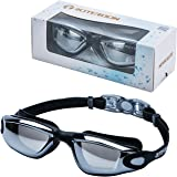 ROTERDON Swimming Goggles, Swim Goggles Adults Anti Fog Water Proof Kids Eyes UV ProtectionMirrored Racing Water Goggle For Men Women Children Youth Junior