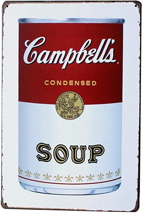 Adorepug Campbell's Soup Tin Wall Sign The Art Iron Painting Plaque Metal Wall Decoration Poster Decor Gifts for Office Home Man Cave Cafe Shop bar