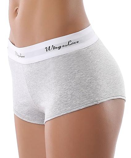 WingsLove Womens 3 Pack Modern Cotton Sports Soft Boyshort Panties Underwear at Amazon Womens Clothing store: