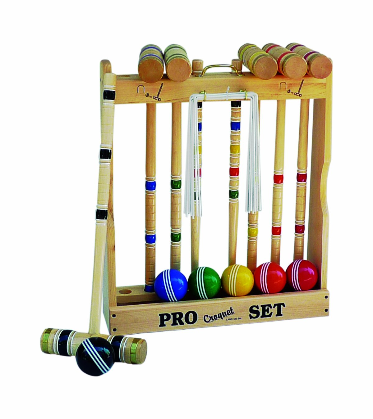 Amish-Crafted Deluxe Maple-Wood Croquet Game Set, 6 Player Set (32'' Handles)