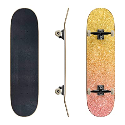 EFTOWEL Skateboards Glitter Background with Gold Pink Color Effect Glitter Background Classic Concave Skateboard Cool Stuff Teen Gifts Longboard Extreme Sports for Beginners and Professionals : Sports & Outdoors