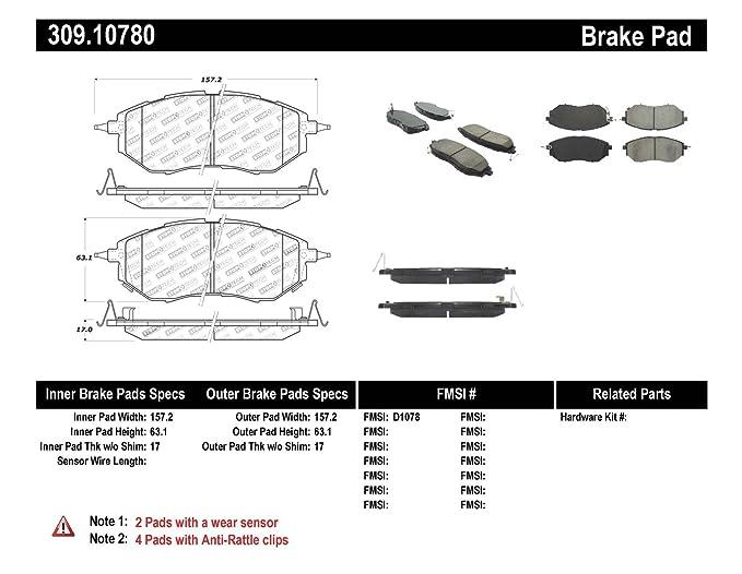 amazon com: stoptech 309 10780 street performance front brake pad:  automotive