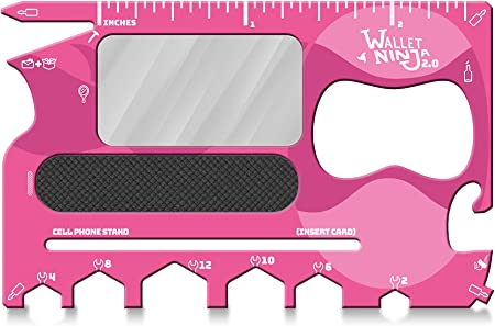 Wallet Ninja 2.0 (Advanced 20-in-1 Multitool, Now With Mirror + Nail File) (Pink)