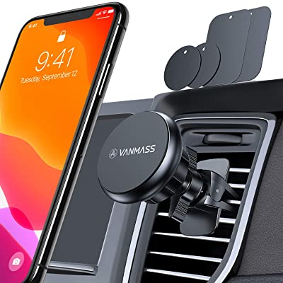 VANMASS Magnetic Car Phone Mount,【Military Grade】 675° Rotation Universal Phone Holder for Car, Air Vent Cell Phone Holder Compatible iPhone 11 Pro Xs Max XR X SE, Samsung S20+ S10+ Note 10+, Pixel