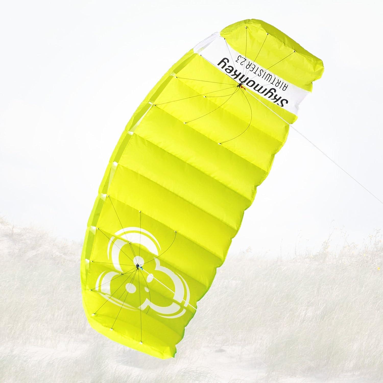 Skymonkey Airtwister 1.8 Aquilone da trazione / Kite (con cavi di volo) Ready 2 Fly - 180 cm [verde-giallo]