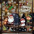 Voqeen Pegatinas de Navidad Calcomanías para ventanas Lindo Decoración de ventanas Santa Claus Adhesivos reutilizables Calcomanías electrostáticas ventanas