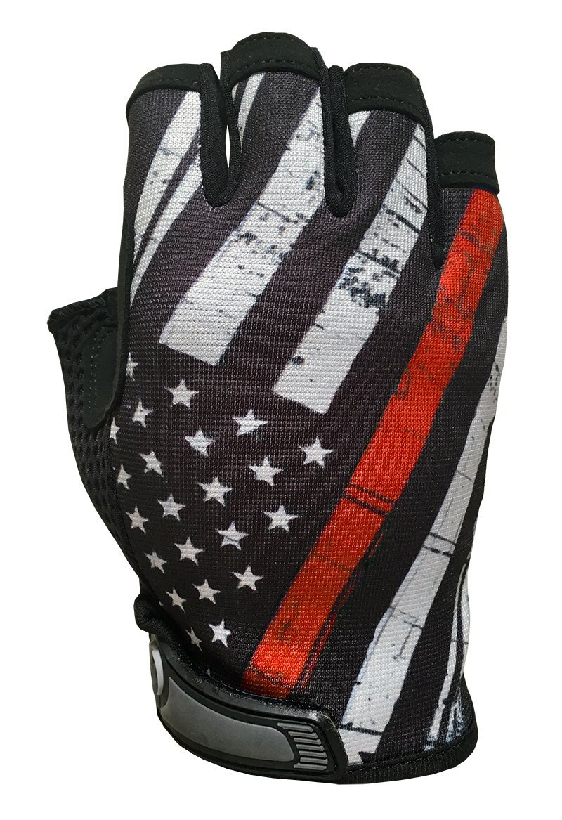 Red Line USA Flag HALF Finger Gloves for Gym, Athletic, and Multi-Use - Support Firefighters