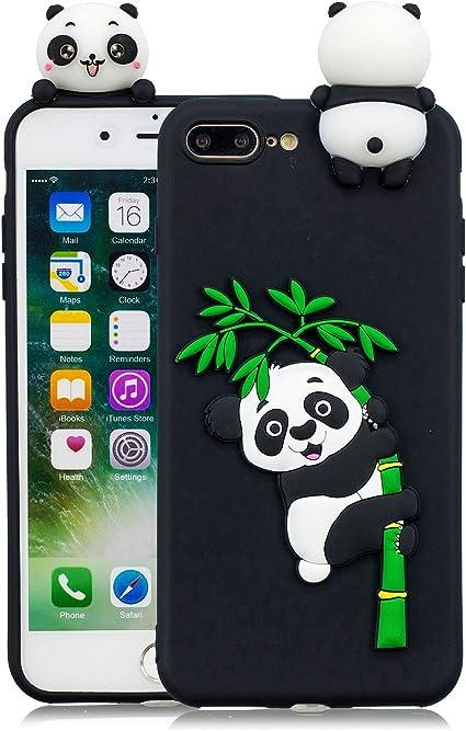 Leton Cover iPhone 8 Plus Silicone Panda 3D Morbido TPU Gel Custodia iPhone 7 Plus Antiurto Ultra Sottile Flessibile Gomma Case Protettiva Bumper ...