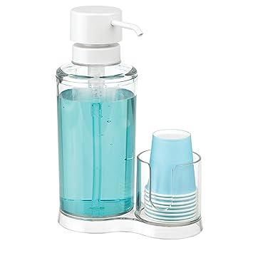 mDesign Dispensador de enjuague bucal con portavasos – Expendedor de plástico para enjuague con 8 vasos