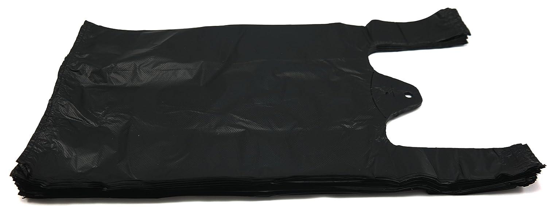 Black t shirt carryout bags 1000 ct - Amazon Com Plastic Bag Black Plain Embossed T Shirt Bag 8 X 4 X 15 15 Mic 1500 Bags Case Kitchen Dining