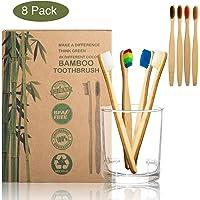 Xpassion Brosses à dents en bambou Pack de 8 pour toute la famille 100% Biodégradable   Blanchiment naturel des dents   Vegan Friendly   Poils souples infusés au charbon végétal