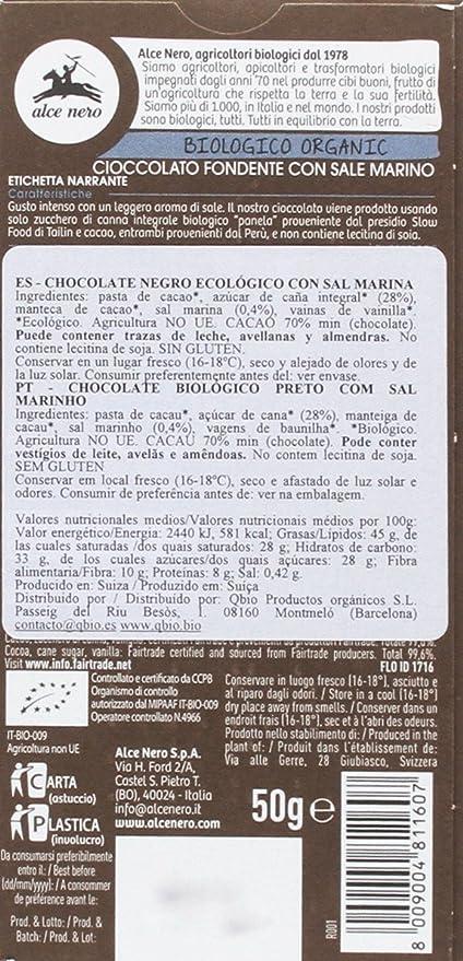 Tableta de chocolate negro con sal marina BIO - Paquete de 14 x 50 gr - Total: 700 gr: Amazon.es: Alimentación y bebidas