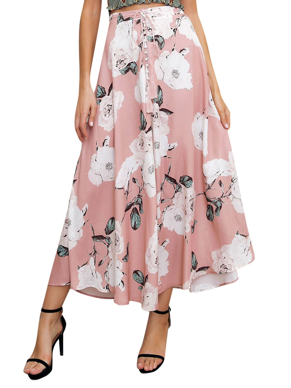 Missy Chilli Women's Floral Print Drawstring Split Maxi Long Skirt (Pink,10)