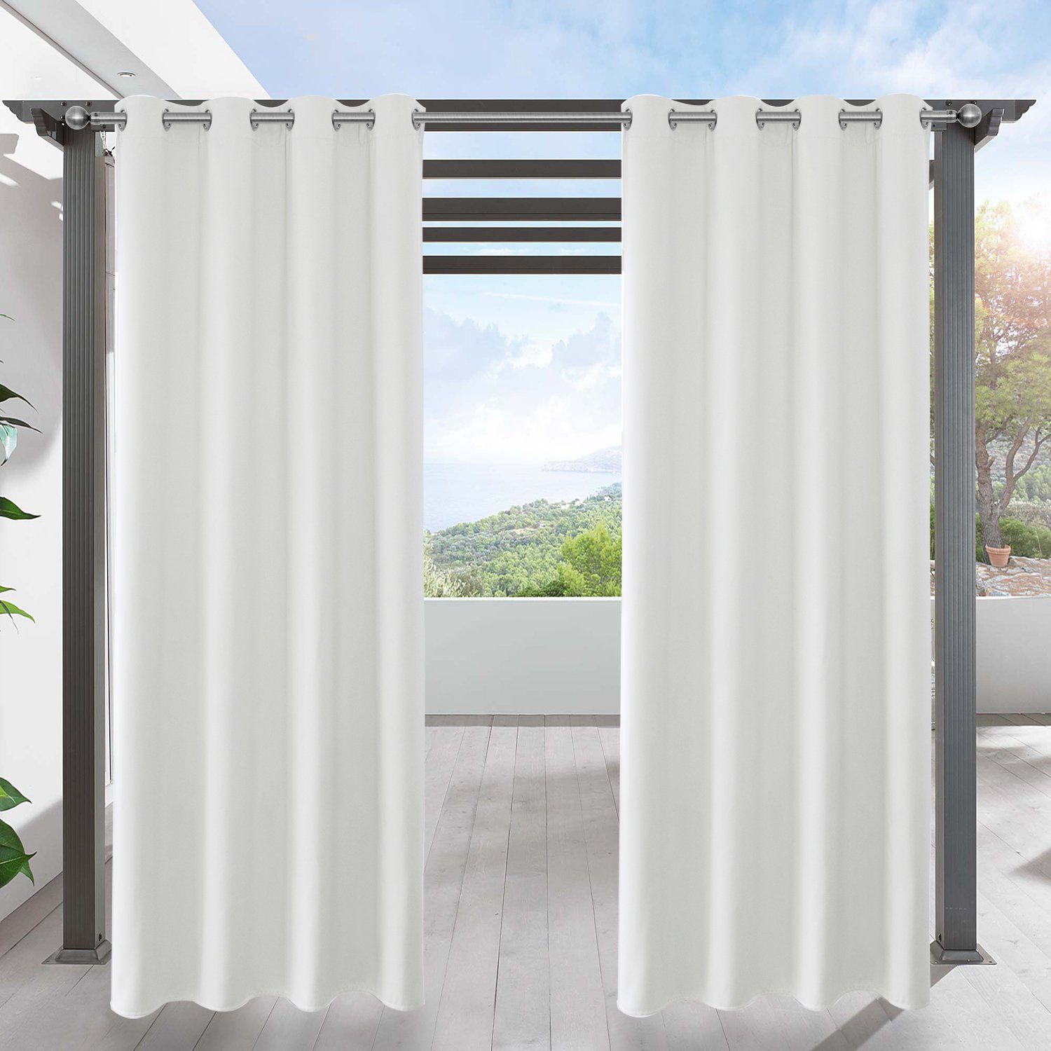 LIFONDER Privacy Porch Outdoor Curtains - Outdoor Deck Décor Grommet Thermal Insulated Blackout Patio Sun Shade/Blind / Drapery Pergolas Gazebos, 52'' x 84'', Greyish White,1 Panel