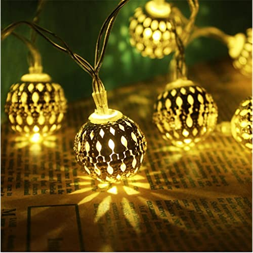 fairy decorative string lights 20 led plug in hollow metal ball light for christmas holiday