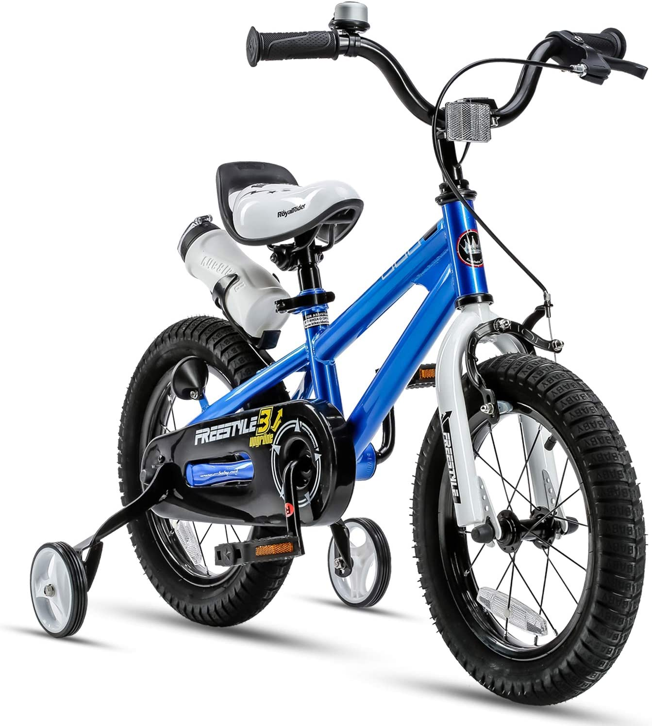 Amazon Com Royalbaby Kids Bike Boys Girls Freestyle Bmx Bicycle With Training Wheels Gifts For Children Bikes 12 Inch Blue Childrens Bicycles Sports Outdoors