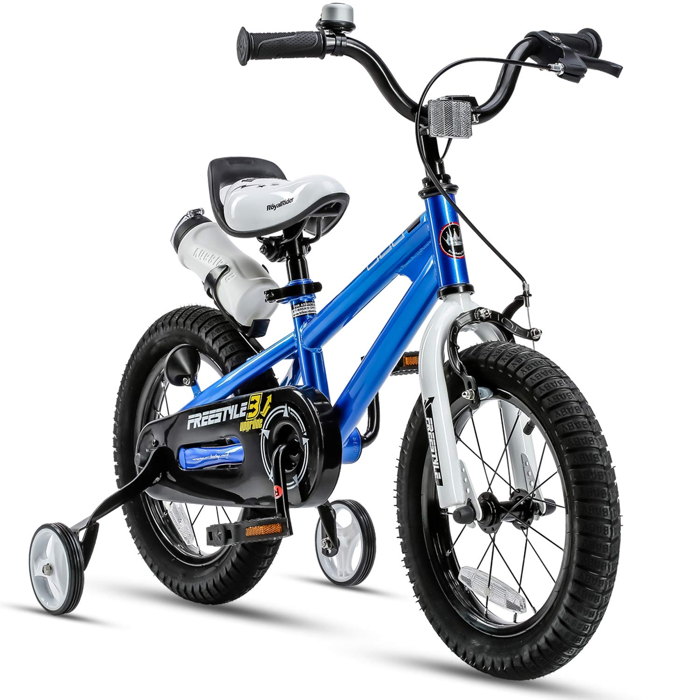 RoyalBaby Kids Bike Boys Girls Freestyle Bicycle 12 14 16 Inch with Training Wheels, 16 18 20 with Kickstand Child's Bike, Blue Red White Pink Green Orange