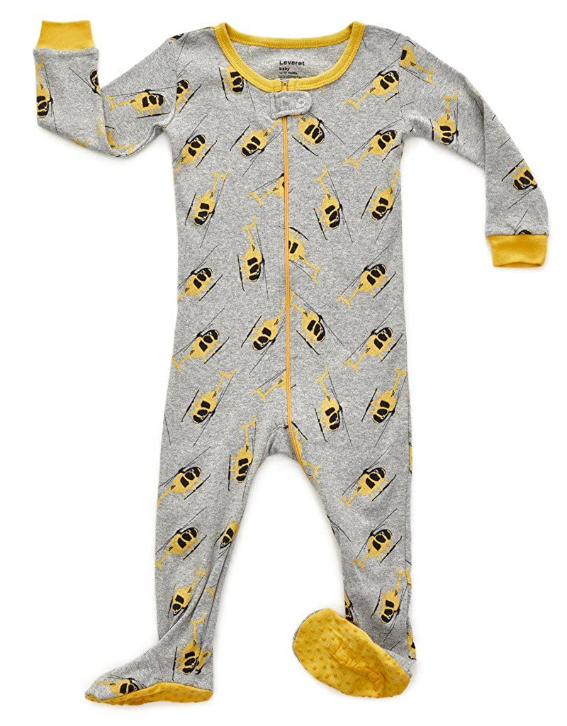 Leveret Baby Boys Footed Pajamas Sleeper 100% Cotton Kids & Toddler Pjs Sleepwear (3 Months-5 Toddler)