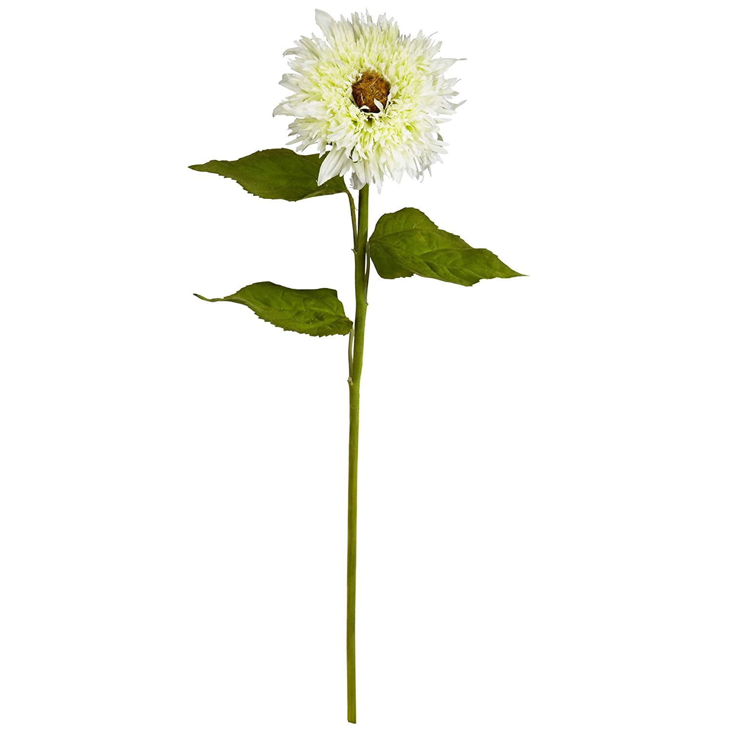"""White Artificial Plant Nearly Natural 2151-S6-WH 26/"""" Sunflower Flower Set of 6"""