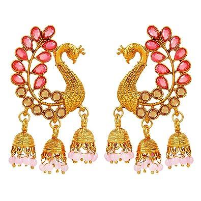 970cbc01c0259 YouBella Earrings for women stylish Jewellery Traditional Pearl Fancy Party  Wear Jhumka/Jhumki Earrings for Girls and Women