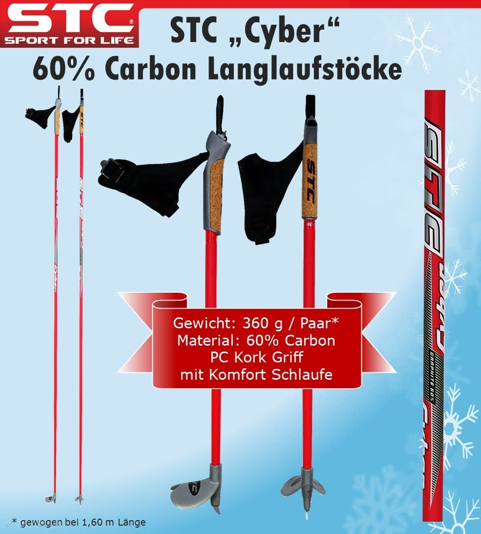 STC 60/% Carbon Langlauf St/öcke Cyber 165 cm