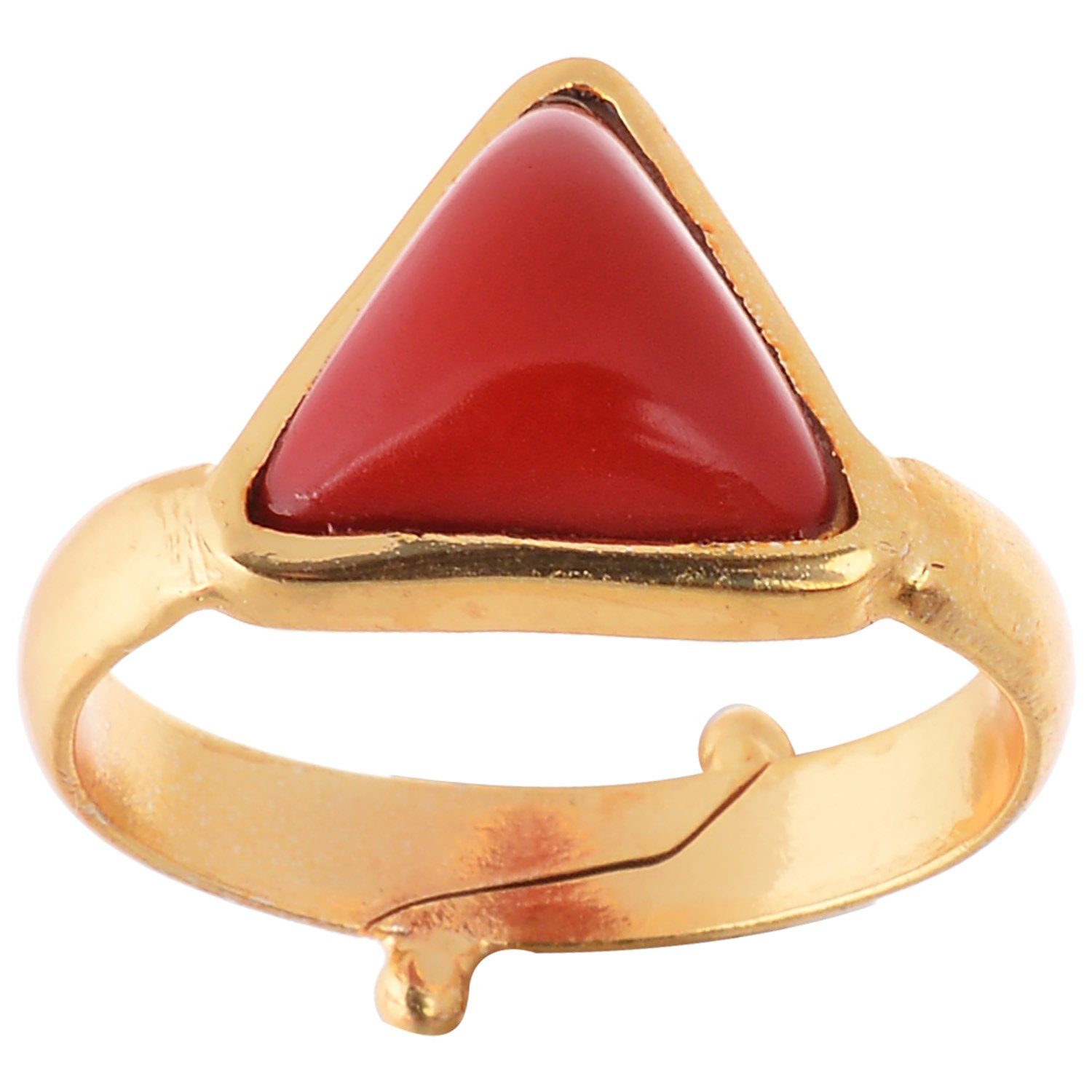 Triangular Red Coral Ring