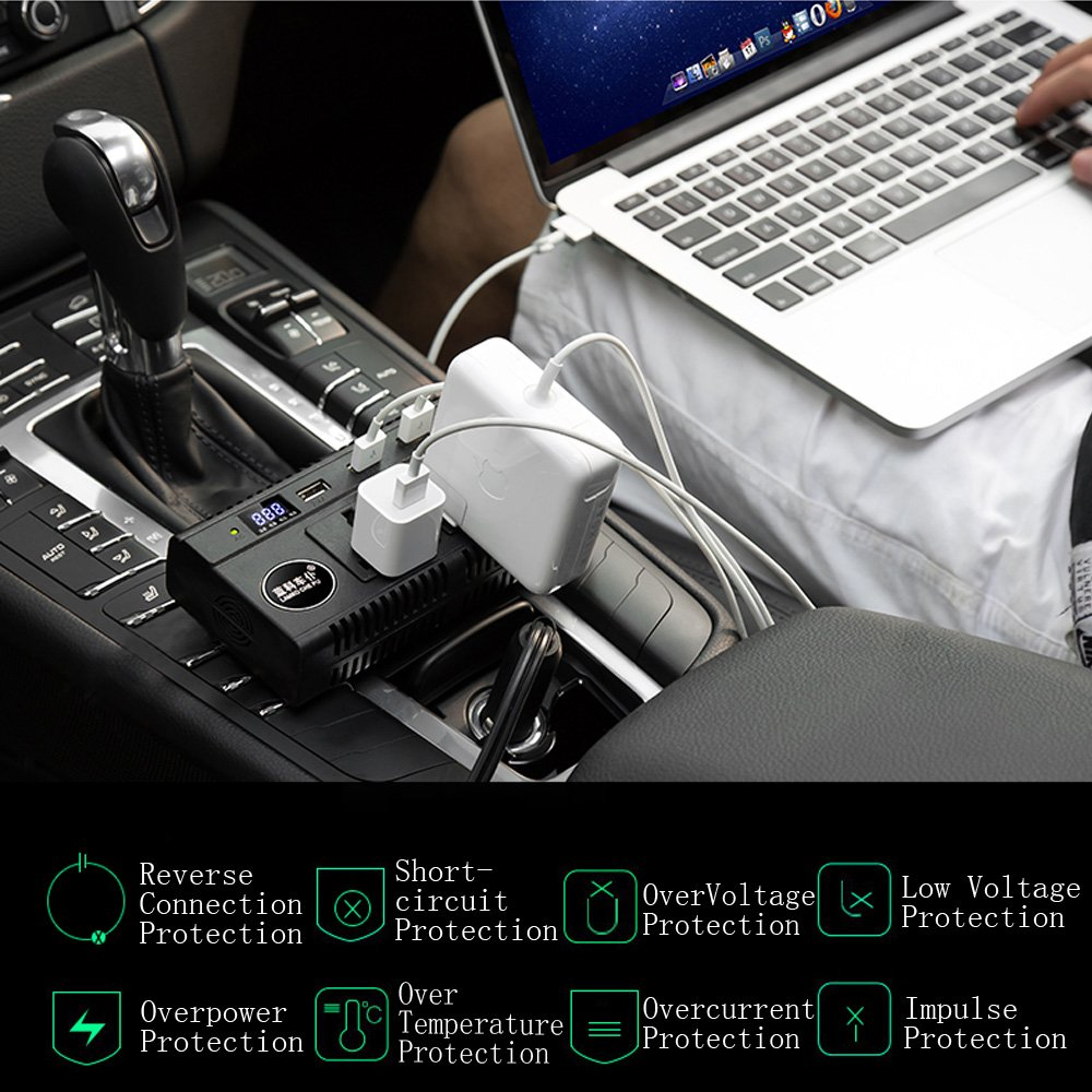 AnseeDirect 200W Inverter da Auto Power Inverter DC 12V 24V a AC 220V con 2 Prese AC Smart Digital Monitor 4 Porte di Ricarica USB per Smartphone Tablet Telecamera Auto Compatibile 12v e Camion 24v