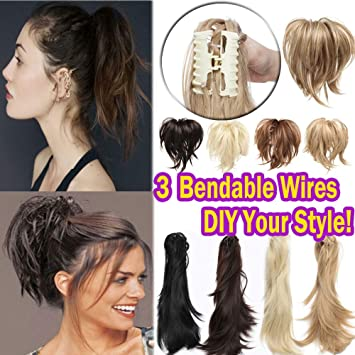 Bendable Messy Hair Ponytail Synthetic Jaw Claw Clip In On Hairpiece Extensions For Updo Style Fluffy Pony