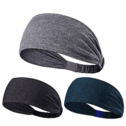 NUREINS Headband 3PCS Unisex Stretch Elastic Sports Sweatbands Headbands Head Wrap for Yoga, Basketball, Running, Football Tennis - Hair Accessories